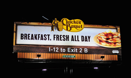 Cracker barrel billboard lighting control