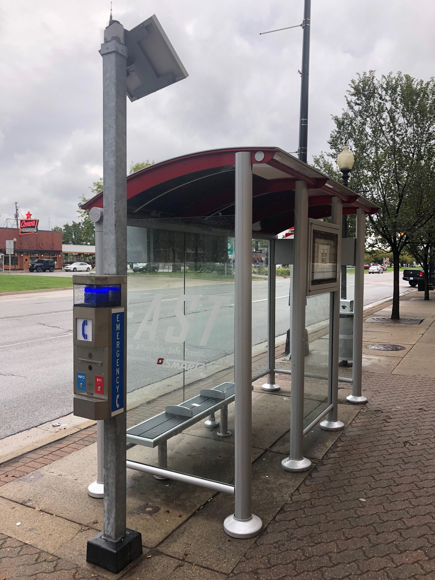 SMART Bus Detroit Solar Bus Stop Shelters with Real Time Signs and SmartLink Monitoring